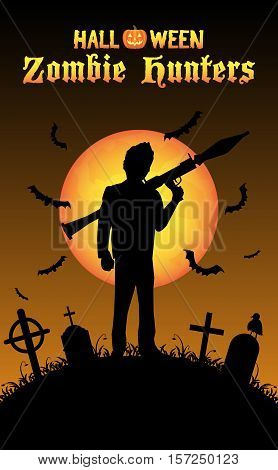 a halloween zombie hunter with rpg rocket at graveyard