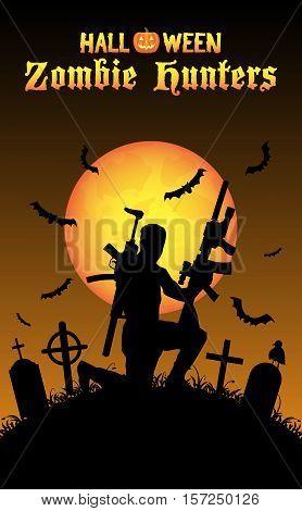 halloween zombie hunter with machine gun at graveyard