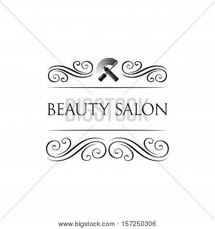 Beauty Salon Label. Mascara for Eyelashes. Eye Makeup. Badge Vector Illustration. Isolated On White Background