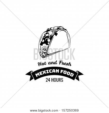 Taco Traditional mexican food . Vector label template or concept. Can be used to design menu, business cards, posters. Vector illustration.