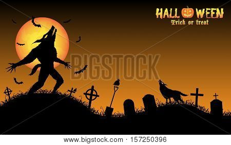 a howling werewolf with halloween background vector