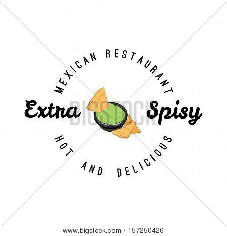 Nachos fast food menu emblem. Mexican corn chips with spicy hot tomato dipping sauce, red ribbon and label text Nachos. Fastfood icon for latin restaurant menu card, sign board sticker design