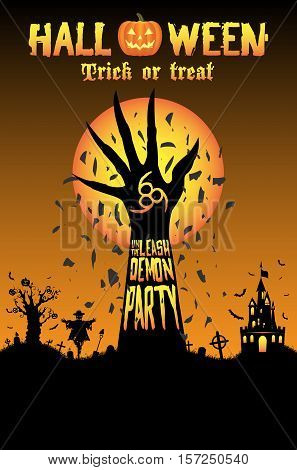 a Halloween unleash the demon party vector