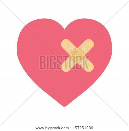 a heart with bandage on a white background