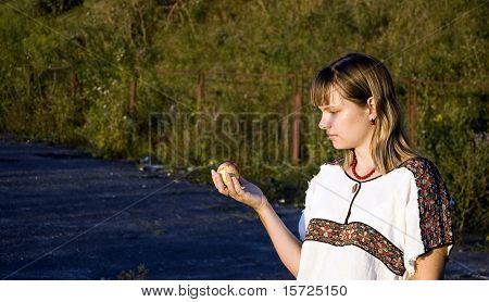 Girl catch apple