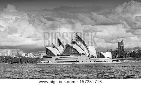 SYDNEY AUSTRALIA - MAY 20 2010: A view of Sydney Opera House from the water. With its interlocking roof or 'shells' it is Australia's most recognizable building and a UNESCO World Heritage Site.
