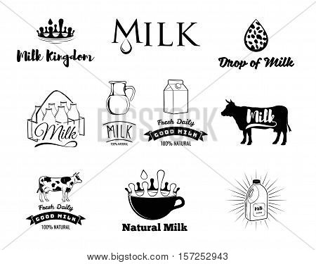 Milk and creamery labels, emblems and design elements set. crown, jug, drop a crate of bottles, cow, Cup
