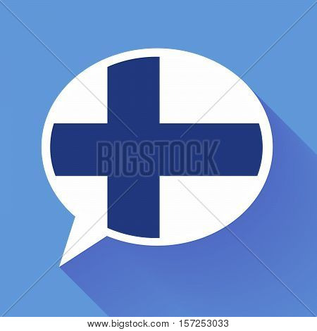 White speech bubble with Finland flag and long shadow on blue background. Finnish language conceptual illustration