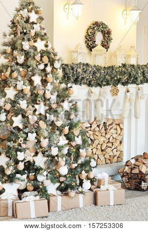 Christmas decor. Christmas tree decorations and holiday homes