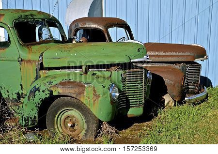 MANDAN, NORTH DAKOTA, July 1, 2016: The old International pickup s with partially open hoods  are a product of the International Harvester Company which was a United States manufacturer of agricultural machinery, construction equipment, trucks, and  forme