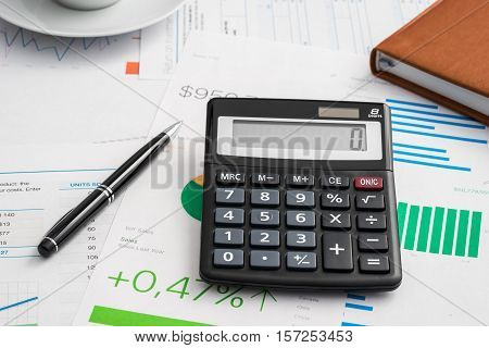 Calculator and pen financial concept, business analytic