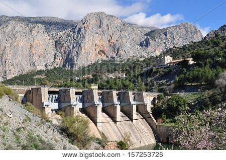 dam and water reservoir  of El Chorro point in Spain