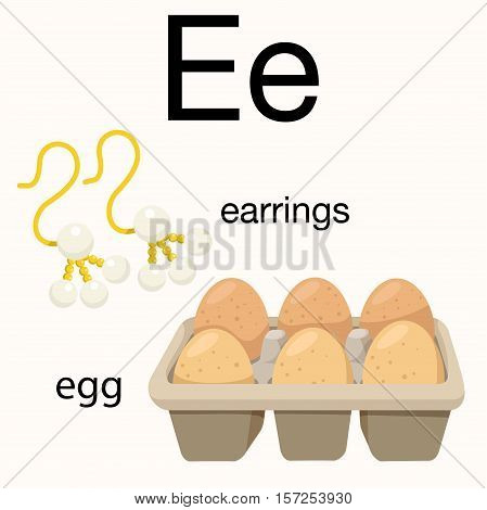 Illustrator of e vocabulary with earrings and egg