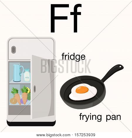 Illustrator of f vocabulary with fridge and frying pan