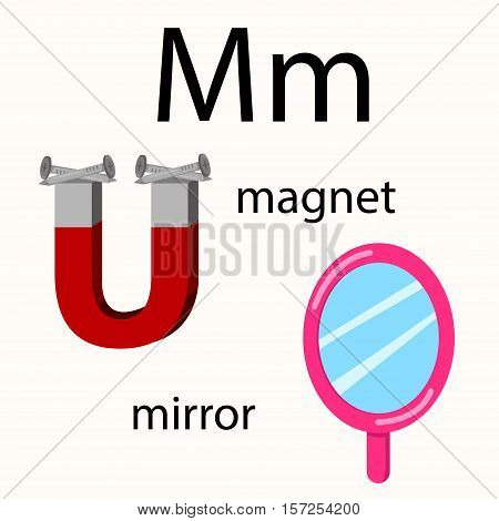 Illustrator of m vocabulary with magnet and mirror