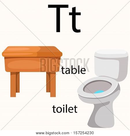 Illustration of t vocabulary with table and toilet