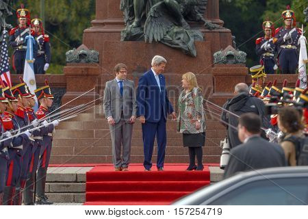 Buenos Aires, Argentina - Aug 4, 2016: US Secretary of State John Kerry C, Argentine Foreign Minister Susana Malcorra R and the Secretary of Government of Buenos Aires Fernando Diego Straface L.