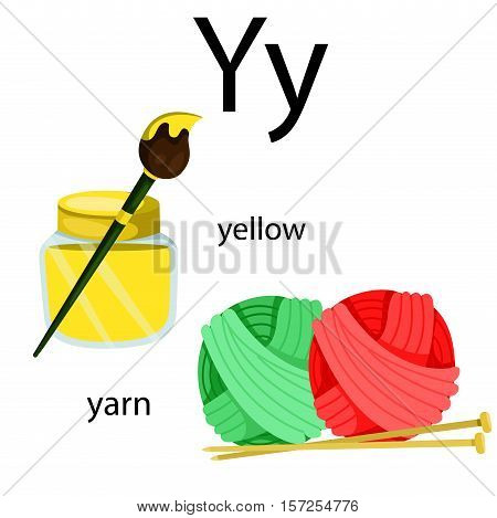 Illustrator of y vocabulary with yellow and yarn
