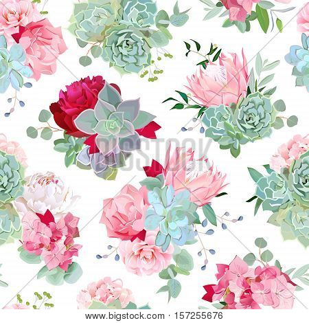 Elegant mixed bouquets of succulents echeveria burgundy red and white peony protea camellia carnation hydrangea seamless vector design pattern. Modern funky stylish bunch of flowers.