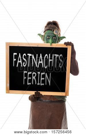 Costume Goblin, Slate With German Text, Carnival Holidays