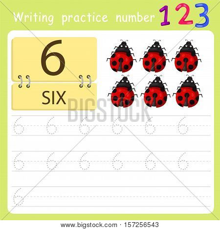 worksheet Writing practice number six for education