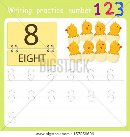 worksheet Writing practice number eight for education