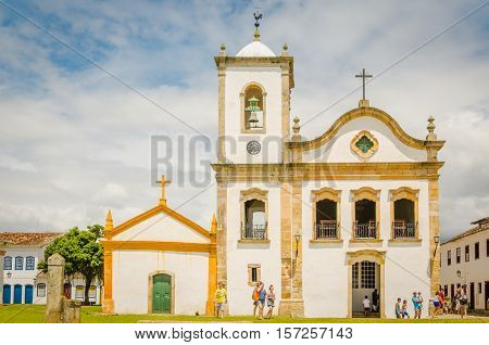 PARATY RIO DE JANEIRO BRAZIL - JAN 17 2016: Church in Paraty a colonial and historic city in Rio de Janeiro.