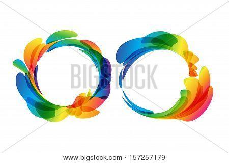 Multicolored rounded frame set on white background