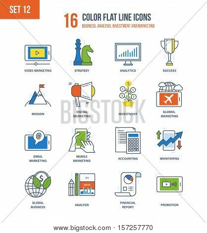 Color Flat Line icons set of business, accounting and monitoring, analysis and analytics, investment and marketing. Vector illustration. Editable Stroke