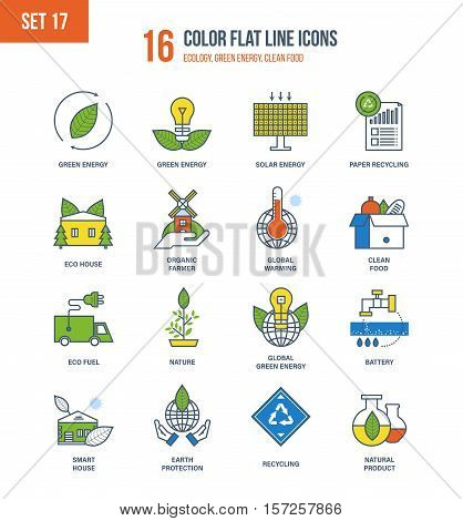 Color Flat Line icons set of ecology, green energy, nature, environmental protection, clean food, smart house, recycling, organic farmer, eco fuel. Vector illustration. Editable Stroke