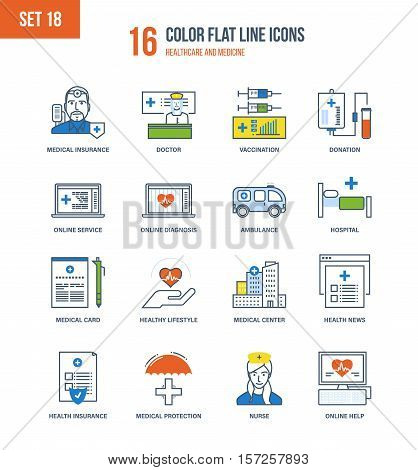 Color Flat Line icons set of healthcare and medicine, medical and health insurance, education, research, medical hospital and laboratory, mobile first aid and online diagnosis. Editable Stroke.