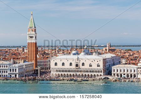 VENICE ITALY - SEPT 22 2016: San Marco is one of the six districts of Venice lying in the heart of the city as the main place of Venice. San Marco also includes the island of San Giorgio Maggiore. Venice September 22 2016