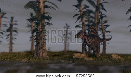 3d illustration of the spinosaurus