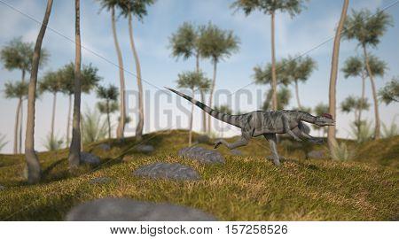 3d illustration of the dilophosaurus