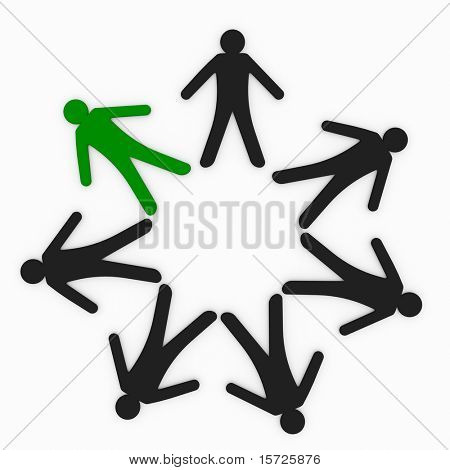 Mystical circle. figures create a circle. One figure is marked green