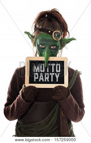 Green Goblin Holding A Slat With German Text, Theme Party