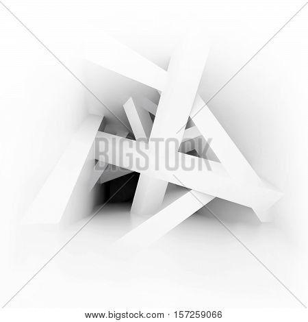 3d illustration. White modern interior of a non-existent room with inclined intersecting supporting columns. Impossible illusory space. Render. Concept for logo poster.