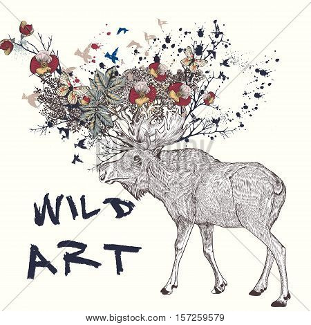 Art boho illustration with hand drawn elk flowers in it horns butterflies and branches. Ideal for T-shirt prints