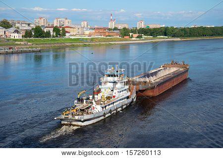 RYBINSK, RUSSIA - JULY 10, 2016: River towboat