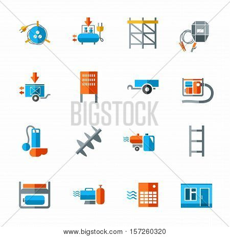 Electric equipment and construction equipment, icon color, flat.  Colored vector image of the electric, gas, and construction equipment on a white background.