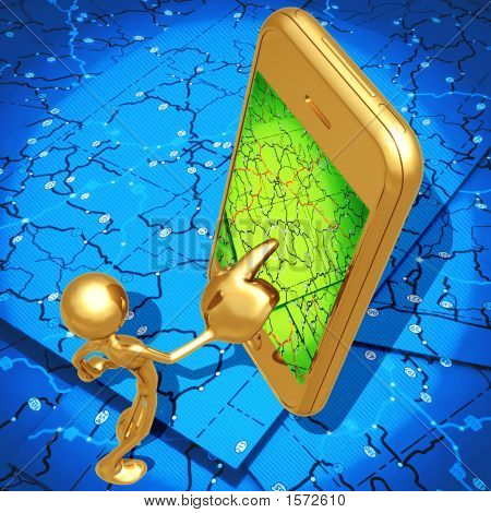 Gps Mapping Navigation On Touch Screen Cell Phone