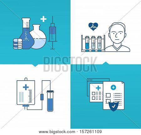 Modern medicine and technology, tools, and methods of treatment, medicines and tools, protect and guarantee safety patients. Vector illustrations on a light and dark background. Thin line icons