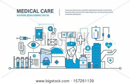 Modern medicine and technology, medical care, healthcare and medical insurance, protect and guarantee safety patients, first aid. Illustration of vector doodles, infographics elements.