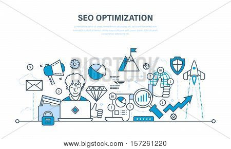 Seo optimization, modern optimization methods and optimization tools, analysis, security information and protection. Illustration thin line design of vector doodles, infographics elements.