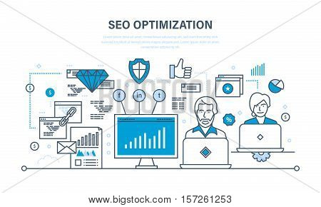 Seo optimization, modern information technology, optimization methods, optimization tools, analysis, security and protection. Illustration thin line design of vector doodles, infographics elements.