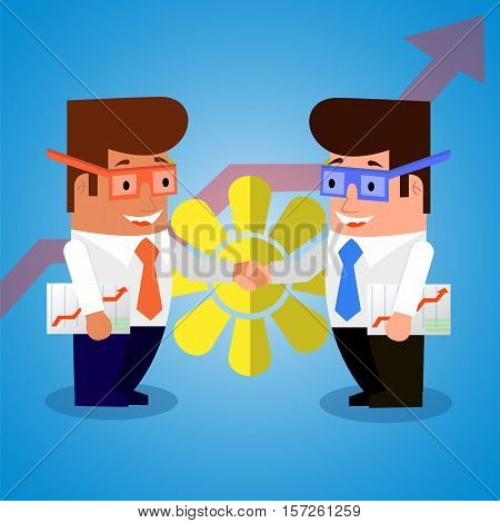 Happy businessmen shake hands at the achievements of a successful transaction. Flat design.