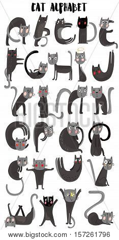 Cat cartoon alphabet. Cute cats.A-Z- stock vector