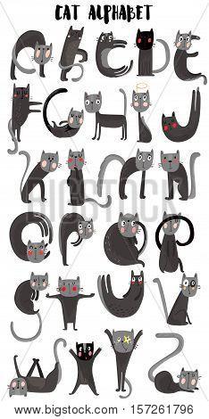 Cat cartoon alphabet. Cute cats.A-Z- stock vector