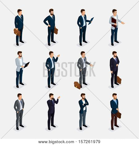 Business people isometric set with men in suits, beard styling stylish hairstyle mustache office isolated. qualitative study. Vector illustration.
