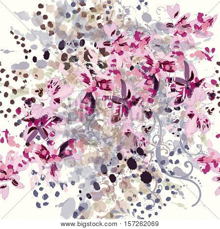 Beautiful pattern with abstract floral spots and flourishes